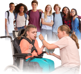 woman feeding her younger sister with group of students at the back